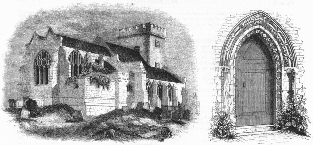 Associate Product CHURCHES. Stone Church; South Door of 1845 old antique vintage print picture