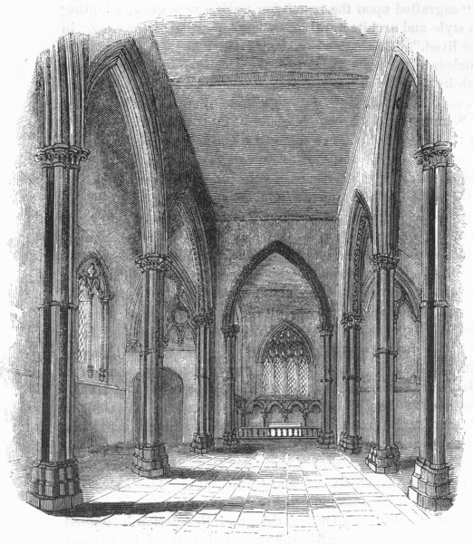 CHURCHES. Stone Church. Nave & Chancel 1845 old antique vintage print picture
