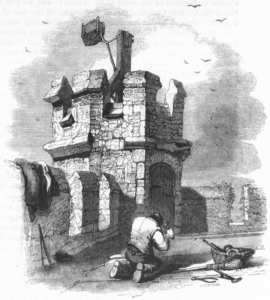 Associate Product LONDON. Hadley Church tower & Beacon 1845 old antique vintage print picture