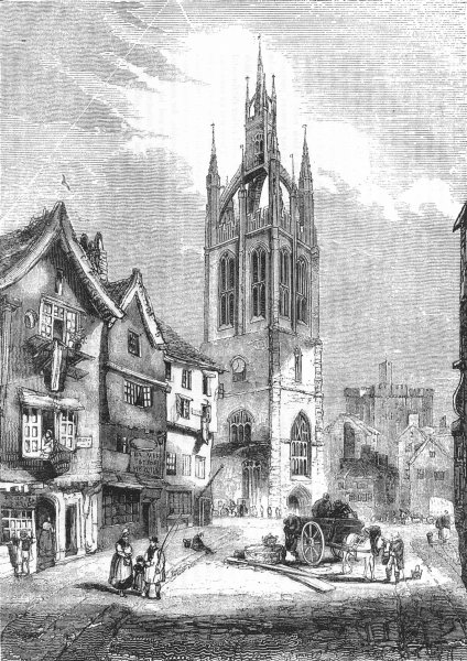 Associate Product NORTHUMBS. St Nicholas Church, Newcastle, Tyne 1845 old antique print picture