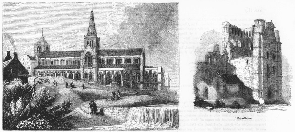 Associate Product SCOTLAND. Glasgow Cathedral ; Kelso 1845 old antique vintage print picture
