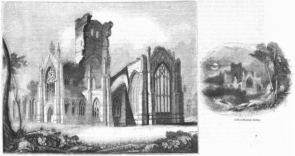 Associate Product SCOTLAND. SE Melrose Abbey;  1845 old antique vintage print picture