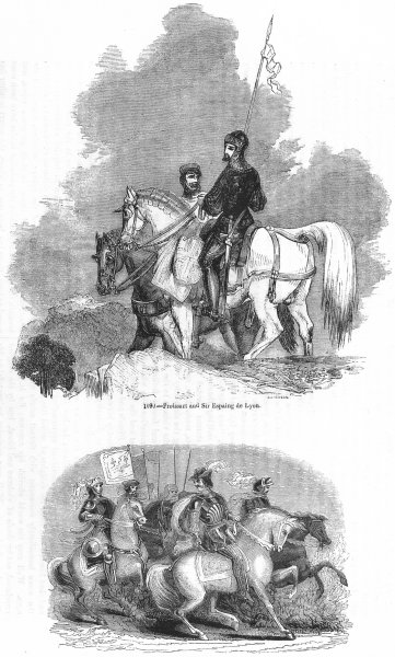 Associate Product FRANCE. Froissart, Espaing de Lyon; Bertrand Guesclin 1845 old antique print