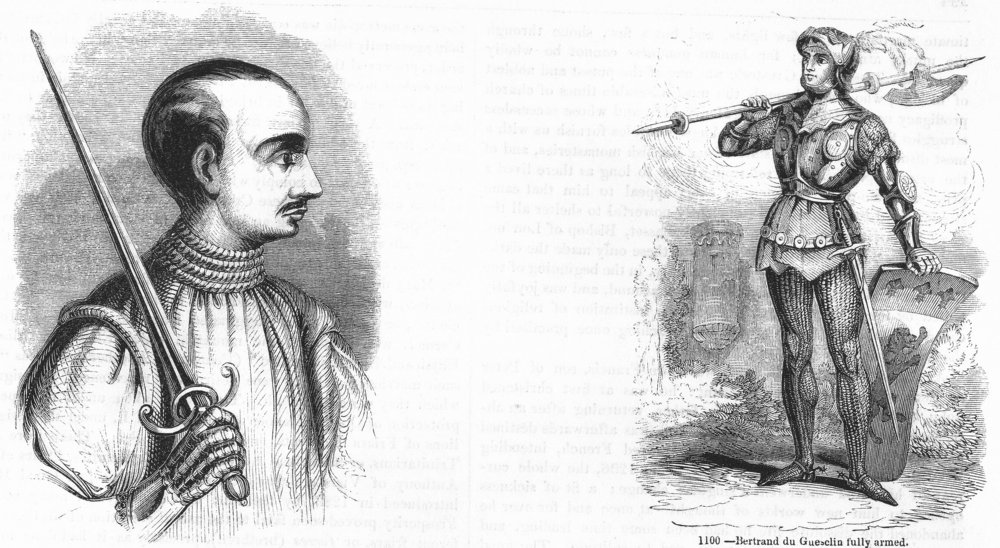 Associate Product PORTRAITS. Bertrand du Guesclin; fully armed 1845 old antique print picture