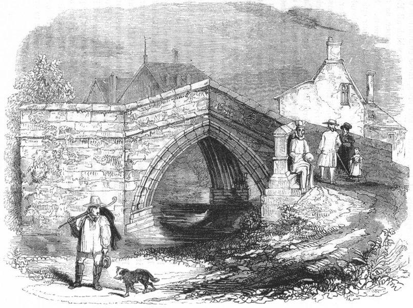 Associate Product LINCS. Crowland Bridge 1845 old antique vintage print picture