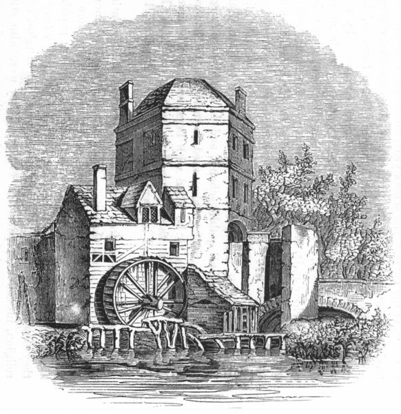 Associate Product OXON. Tower which ex stood, bridge, Oxford 1845 old antique print picture