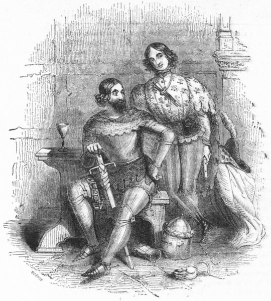 Associate Product MILITARIA. The Knight and the Squire 1845 old antique vintage print picture
