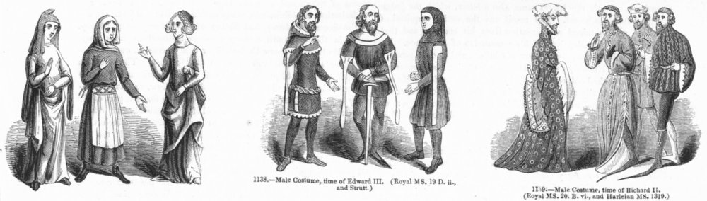 Associate Product COSTUME. Time of Edward II & III, Richard 1845 old antique print picture