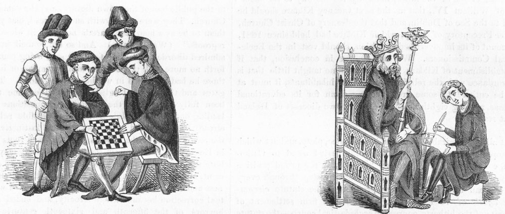 GAMES. Playing at Draughts ; Chair 1845 old antique vintage print picture