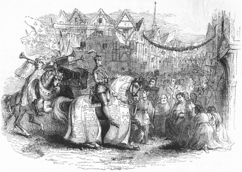 Associate Product LONDON. Entry of Henry V into London 1845 old antique vintage print picture