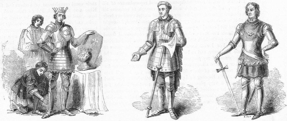 Associate Product PEERS. Henry V, Montacute Salisbury; Thomas Erpingham 1845 old antique print