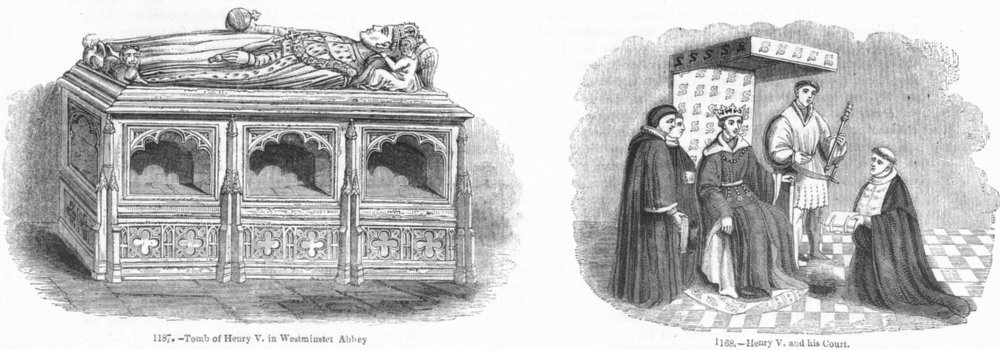 Associate Product WESTMINSTER ABBEY. Henry V. Tomb; his Ct 1845 old antique print picture