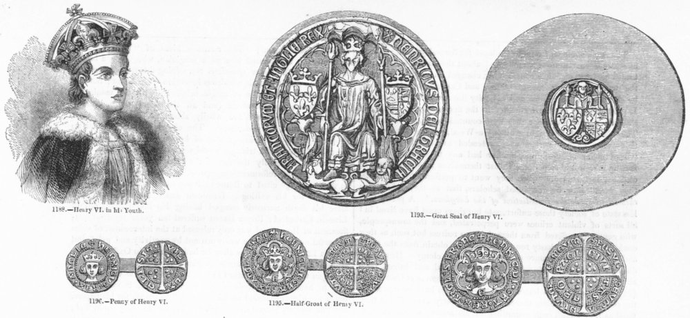 Associate Product HENRY VI. Seal; Penny; Half-Groat;  1845 old antique vintage print picture