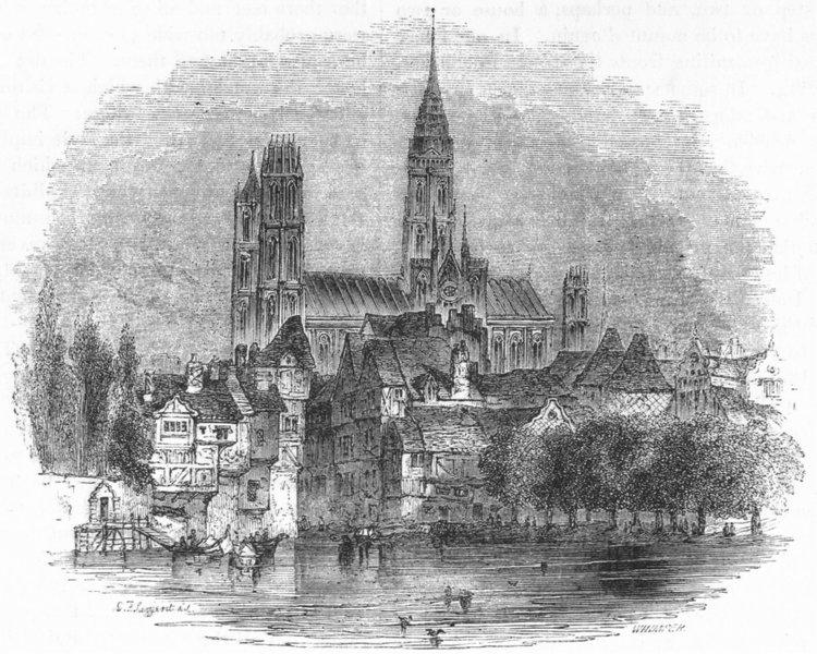 Associate Product FRANCE. Rouen 1845 old antique vintage print picture