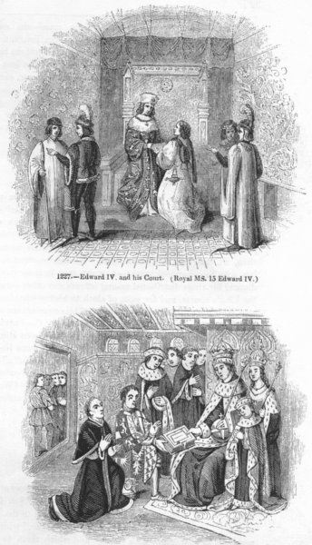 Associate Product EDWARD IV. & his Ct; Earl Rivers presenting Caxton 1845 old antique print