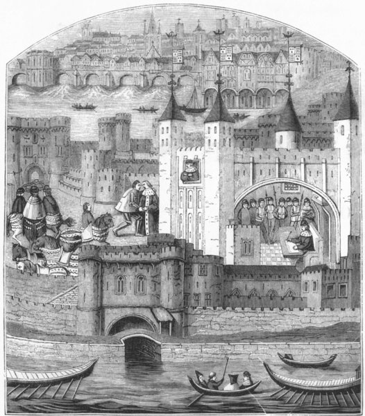 Associate Product LONDON. The Tower in the 15th Century 1845 old antique vintage print picture