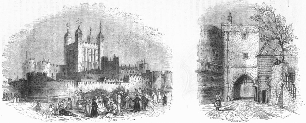 Associate Product LONDON. Tower Temp Henry VI; Bloody-North side 1845 old antique print picture