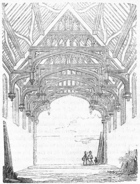 Associate Product LONDON. Great Hall of Eltham palace 1845 old antique vintage print picture