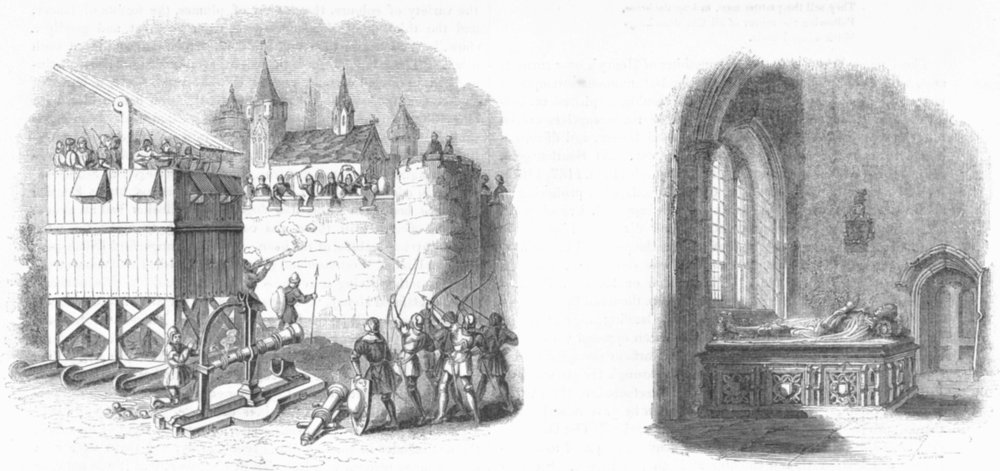 Associate Product SIEGE. Moving Archers Tower, Cannon; John Crosby tomb 1845 old antique print