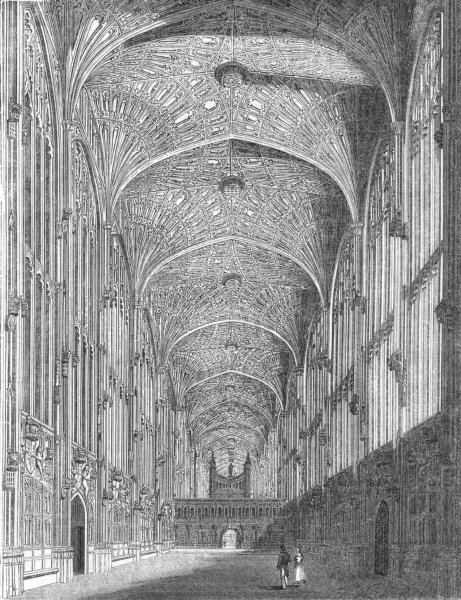 Associate Product CAMBS. King's College Chapel 1845 old antique vintage print picture