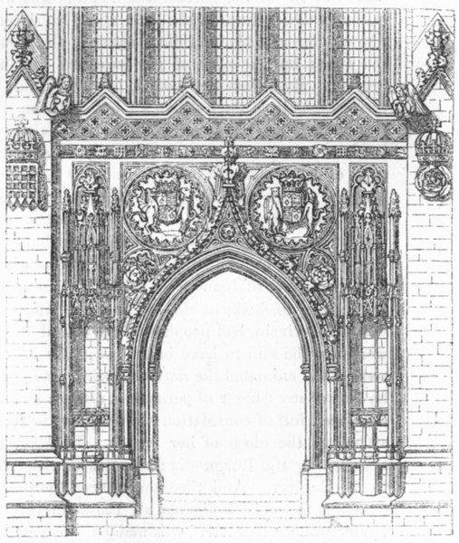 Associate Product CAMBS. Door, King's College Chapel, Cambridge 1845 old antique print picture