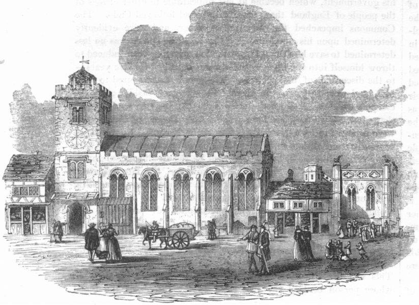 LONDON. St Michael le Quern 1845 old antique vintage print picture