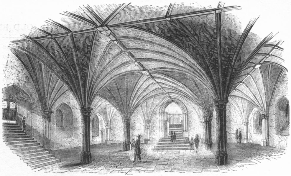 Associate Product CHURCHES. Crypt, Guildhall 1845 old antique vintage print picture