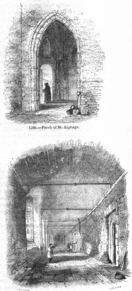 Associate Product LONDON. St Alphage porch; Cloisters, Charter House 1845 old antique print