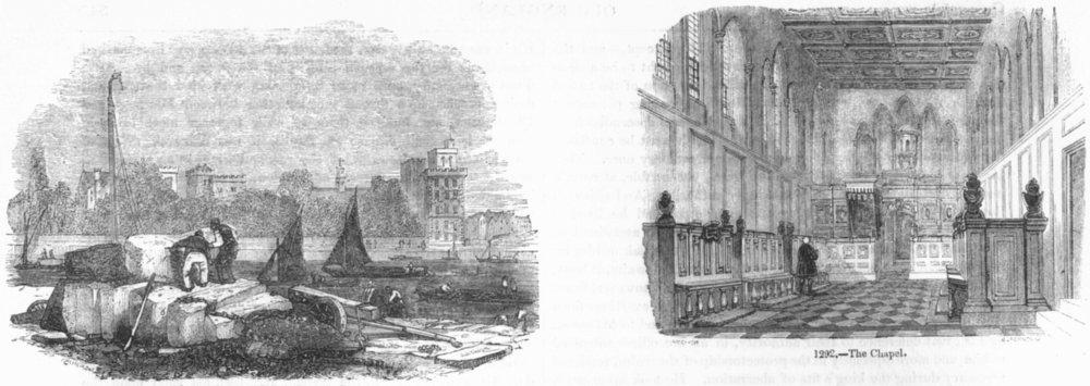 Associate Product LONDON. Lambeth Palace, River; Chapel 1845 old antique vintage print picture