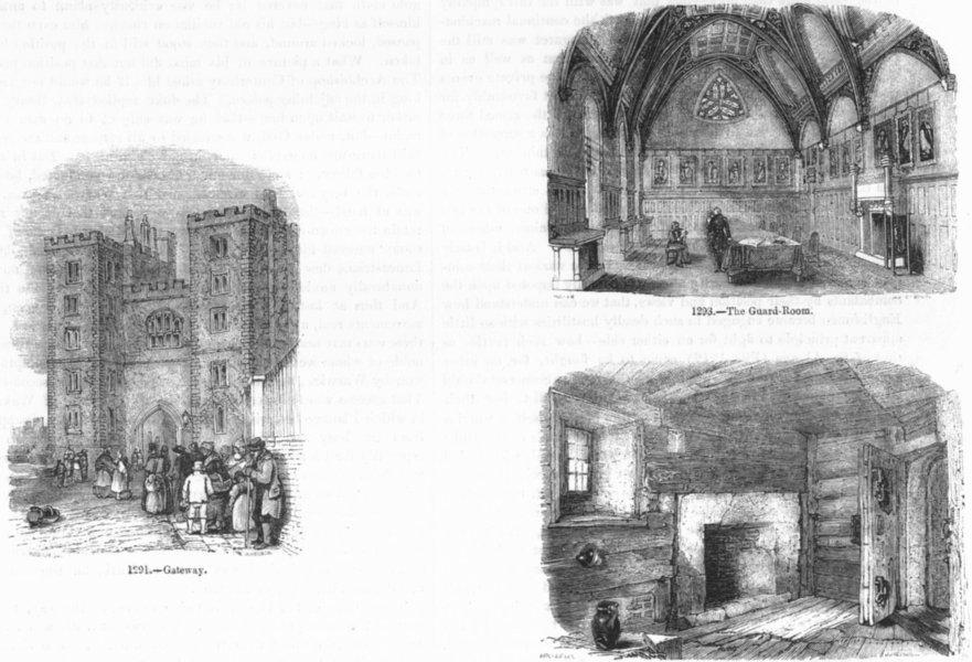Associate Product LONDON. Gateway; Guard Room; Lollards jail 1845 old antique print picture