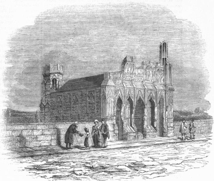 Associate Product YORKS. Edward Fourth's Chapel, Wakefield Bridge 1845 old antique print picture