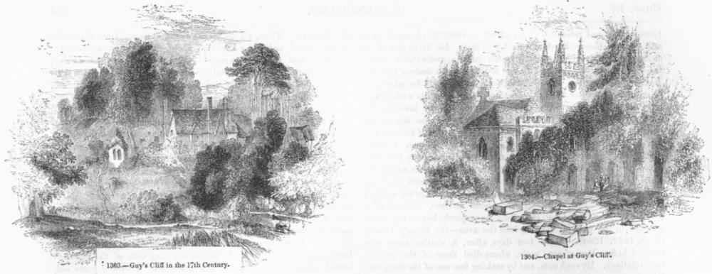 Associate Product LANDSCAPES. Guy's Cliffe 17C; Chapel  1845 old antique vintage print picture