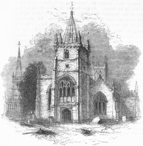 Associate Product WORCS. The Parish Churches, Evesham 1845 old antique vintage print picture
