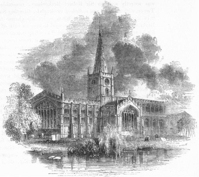WARCS. Stratford Church 1845 old antique vintage print picture