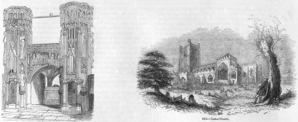 WESTMINSTER. Henry V 's Chantry; Luton Church 1845 old antique print picture