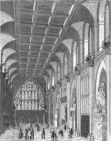 Associate Product BUILDINGS. The Hall Guildhall 1845 old antique vintage print picture