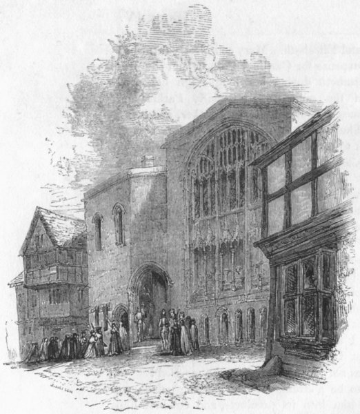 Associate Product BUILDINGS. St Mary's Hall; Front 1845 old antique vintage print picture