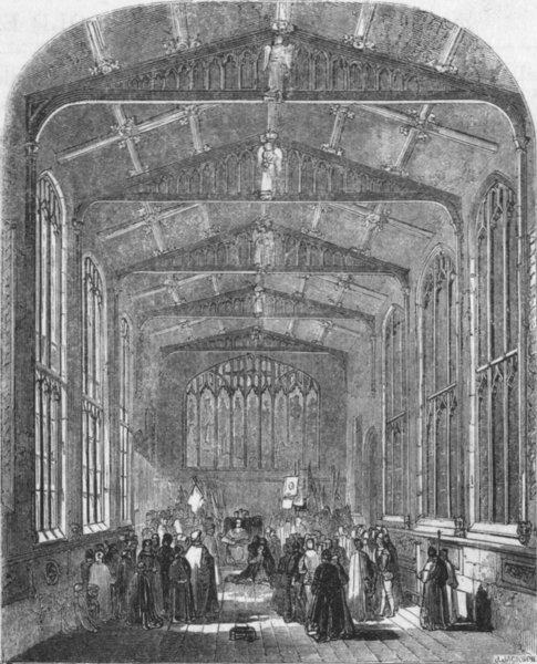 Associate Product BUILDINGS. St Mary's Hall ; Interior 1845 old antique vintage print picture