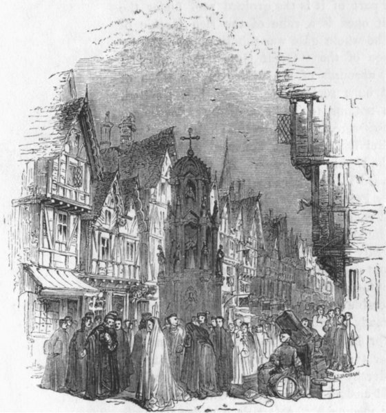 Associate Product LONDON. Street in London ; Cheapside 1845 old antique vintage print picture