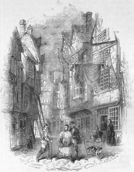 Associate Product LONDON. Street in London 1845 old antique vintage print picture
