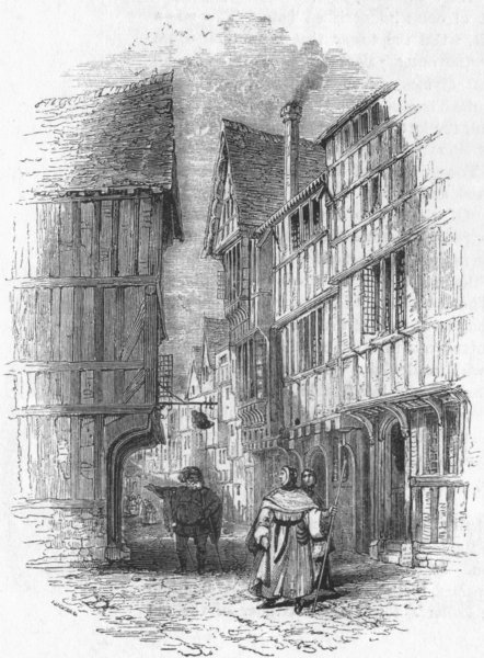 LONDON. Street in London 1845 old antique vintage print picture