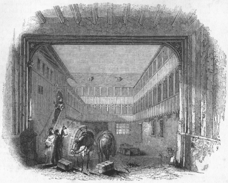 Associate Product BUILDINGS. An Inn Yard 1845 old antique vintage print picture