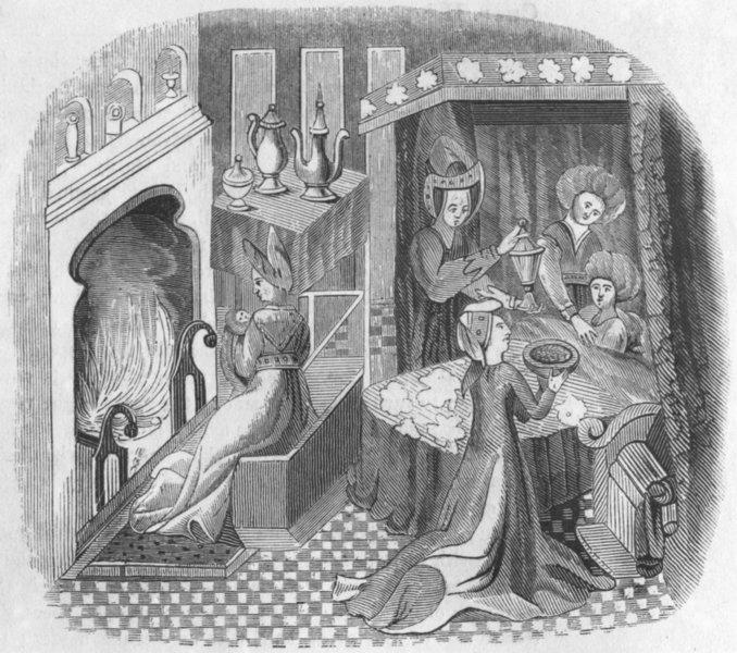 FURNITURE. Bedroom Henry VI  1845 old antique vintage print picture