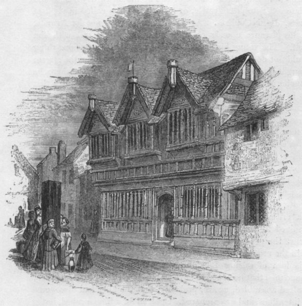 Associate Product WARCS. Old Timber houses at Coventry 1845 antique vintage print picture