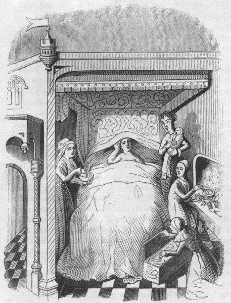 Associate Product BUILDINGS. Bedroom, Edward IV 1845 old antique vintage print picture