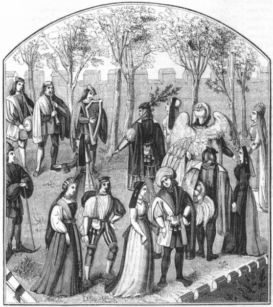Associate Product DANCE. 'Garden of Pleasure' 'Roman de la Rose' 1845 old antique print picture