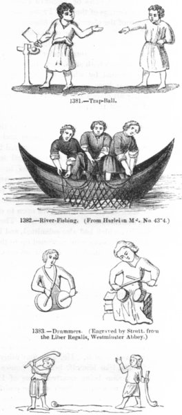 Associate Product SPORTS. Trap-ball; Fishing; Drummers; Golf, or Randy- 1845 old antique print