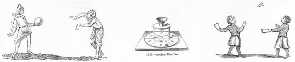 Associate Product GAMES. Club-ball; Dice-Box; Shuttle-Cock 1845 old antique print picture