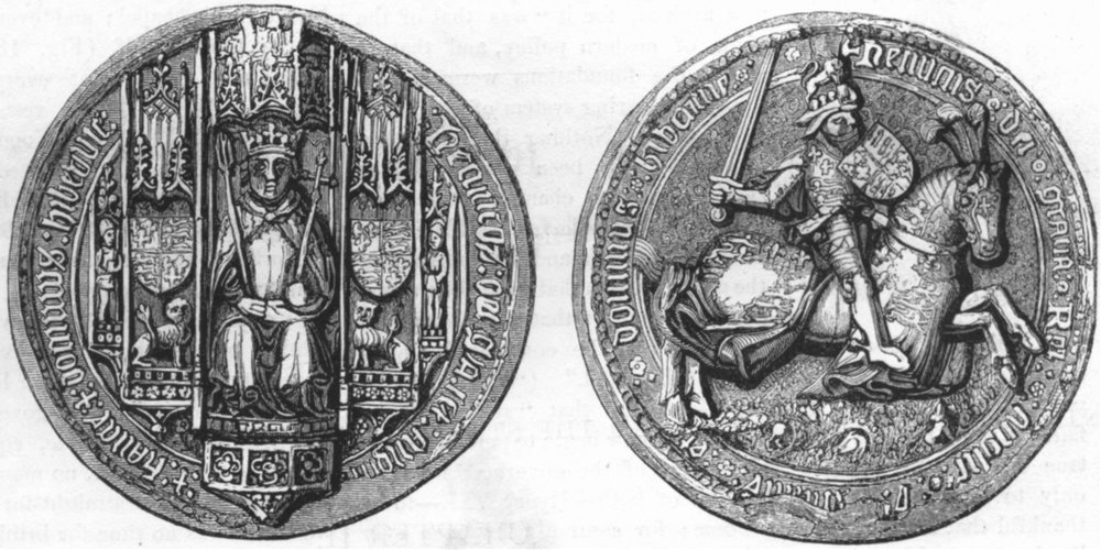 Associate Product DECORATIVE. Great seal of Henry VII 1845 old antique vintage print picture