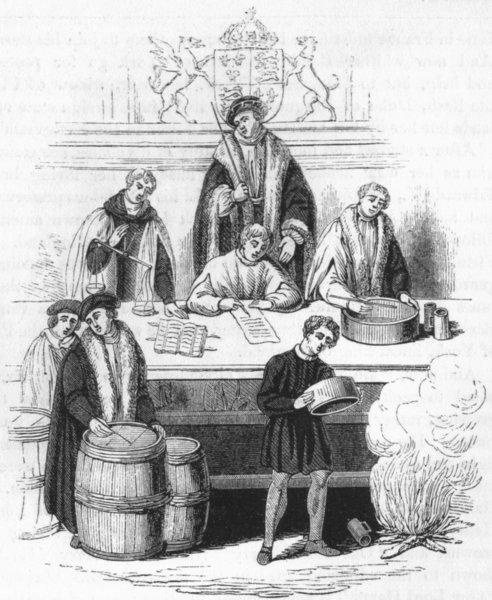 KINGS. Henry VII 's Trial of Weights & Measures  1845 old antique print
